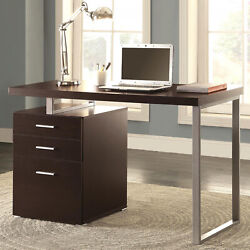 Modern Design Home Office Cappuccino Writing Computer Desk With Drawers And