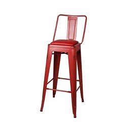 30 High Back Industrial Antique Red Kitchen Dining Metal Bar Stool Red Pu