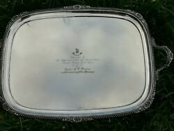 Antique X Large Ww1 Silver Plated Tray Queens Own Royal West Kent Regiment 1918
