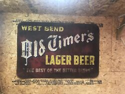 Vintage Old Timers Lager Beer Sign Metal West Bend Wi Great Petina 67.5andrdquox45.5andrdquo