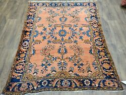 Antique Handwoven Rug Size 5and039andtimes6ft Traditional Lilihan Design Salmon Blue