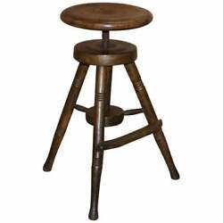 Early 19th Century Walnut Antique Architects Artists Stool Height Adjustable