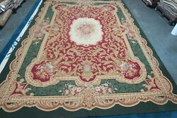 Hand Woven French Aubusson Design Needlepoint Wool Tapestry Rug 9and0394 X 13and0396