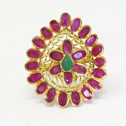 Nyjewel 22k Yellow Gold Indian Style 6.45ctw Ruby Emerald Ring