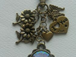 BUTTERFLY KEY CABOCHON SUNFLOWERS KEY CHAIN CLIP FOR PURSE FOB DESIGNER BAGS $11.99