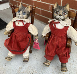 Vintage House Of Global Art 70-s Pair Of Cat Dolls In Rocking Chairs Music Box