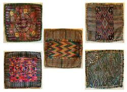 Group Of 5 Hand Woven And Hand Embroidered Vintage Guatemalan Pillow Cover
