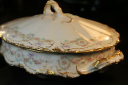 Haviland 330 Covered Vegetable Dish Pink Rose Wreath Blue Ribbon Double Gold
