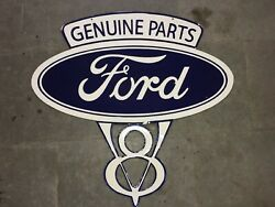 Porcelain Genuine Ford Enamel Sign Size 37.5 X 28 Inches Double Sided Pre-own