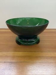 Vintage Anchor Hocking Forest Green Punch Bowl With Stand Base Depression Glass