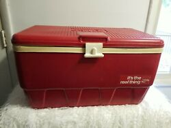 Vintage Red Igloo Coca-cola Coke Cooler Ice Chest Usa 24x14x14 1970s