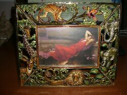 Jay Strongwater Signed Jungle Scene Picture Frame With Original Box And Coa