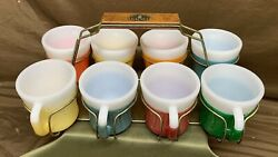 Vintage Federal Glass Milk Glass Glamalite Insulated Rubber Coating Mugs In Rack