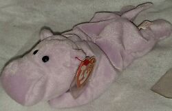 Retired Original Ty Beanie Baby Happy The Hippo Pvc 1993 1994 Pellets Tag Errors