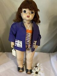 Vintage 16 Terri Lee Doll 1950and039s In Tagged Swim Suit And Beach Coat- Cute