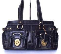 COACH Legacy Mandy Large Black Satchel with Turnlock Front Pockets 13130 $64.00