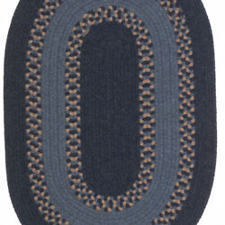Corsair Banded Navy Natural Wool Blend Oval Country Cottage Braided Rug