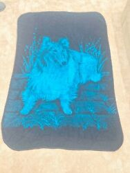 Vintage San Marcos Blanket Throw Reversible Blue amp; Black Collie Dog 82x 56