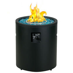 Bali Outdoors Round Gas Fire Pit Propane Fire Column 23 Inch Cylinder Fireplace