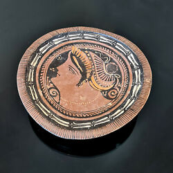 Apulian 4th Century Bc Red-figure Raised Plate The Lady Of Fashion Tarracotta
