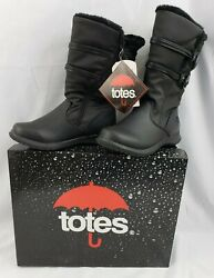 New In The Box Totes Waterproof Judy Black Boots Thermolite Size 6M Faux Fur $29.99