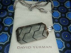49MM Large David Yurman Forged Carbon amp; Sterling Silver Dog Tag Pendant $880.00