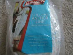 Nos Coleman Boat/kayak Anchor Line 3/8 X 50and039 White Poly Marine With Ss Hook