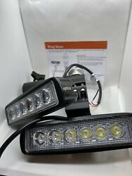 2pcs 6 Inch 12v Led 1000lm Light Set With Wiring Harness And On Off Switch