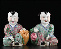 11.2'' China Antique Statue Five-colored Porcelain Boy Girl Statue Old Pottery