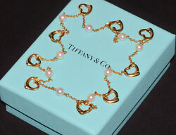 And Co. Elsa Peretti Open Heart Pearl 750 18k Yellow Gold Station Necklace