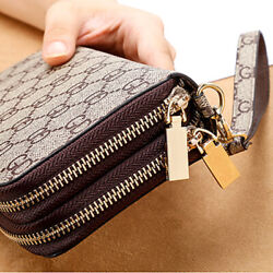 Double Zipper Wristband Long Clutch Wallets For Women Large Capacity Card Holder $12.99