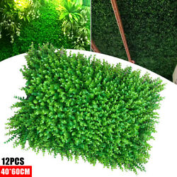 12pcs 23x15 Artificial Boxwood Wall Hedge Mat Plant Panels Outdoor Grass Fence