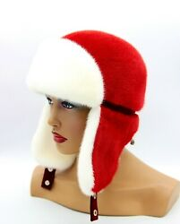 Womanand039s Mink Ushanka Fur Hat Winter Warm Aviator Bomber Ear Flaps White And Red