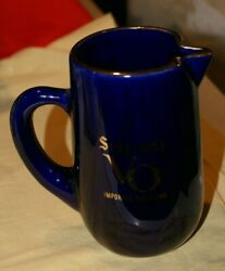 Seagrams Vo Canada Whisky/water Pitcher Blue Gold Trim Collectible 6h X 3.5d