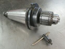 Used Jacobs 11n Ball Bearing Drill Chuck W/ Cat-50 Arbor And Chuck Key