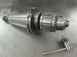 Used Jacobs 16n Ball Bearing Drill Chuck W/ Cat-50 Arbor And Chuck Key