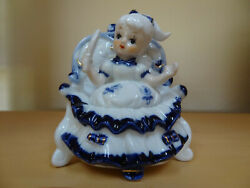 Vintage Figurine Blue Gold and White Porcelain