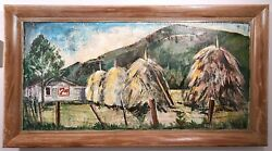 Folk Art Oil Painting Tobacco Farm Field Country Store 19x39 Rustic Plywood