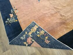 Antique Handwoven Authentic Chinese Brown Color Rug Size 8x10ft Circa 1900s