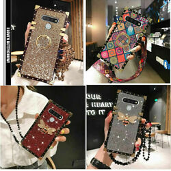 For LG stylo 6 STYLO5 Square Case Glitter Sunflower ring stand phone Cover Strap