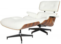 Emod Classic Plywood Lounge Chair And Ottoman Aniline Leather White Palisander
