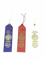 1946 Multnomah County Fair Gresham Oregon Ribbons First Second And Third Vintage