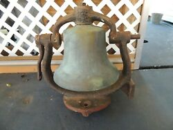 Large Railroad Train Locomotive Brass Bell With Cast Iron Yoke And Clapper