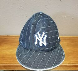 Vintage New York Yankees Denim Jean Striped 59fifty Fitted Hat 61cm Ny Cap