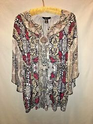 Style amp; Co Size Large Women#x27;s Multicolor Ruffle Sleeve Graphic Print Blouse $11.99