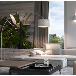 Q-max Steel Adjustable Arching 81 Floor Lamp With Grey Extra Large Shade