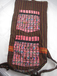 Cloth Hand Embroidered Backpack/yoga Mat Bag Two Zippered Pockets - 24x10x6 In