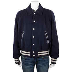 Button Down Bomber Jacket In Blue
