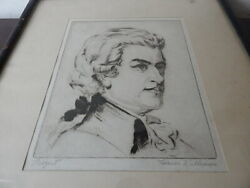 Antique 19th C Signed In Pencil Mozart By T Williams Etching Interntnl Sale