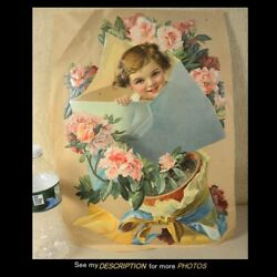 Victorian Large 12w X 17h German Die Cut Young Girl In An Envelope In Bouquet